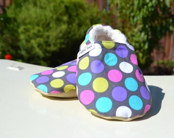 Polka dot Tippie Toes - toddler shoes baby shoes non slip shoes baby gift booties first birthday gift cute shoes baby slippers
