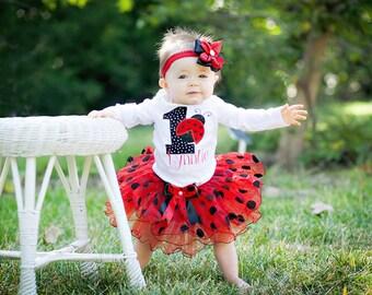 Girls First birthday ladybug tutu outfit First red black polka dot ladybug birthday outfit for baby girl,Girl 1st 2nd red black ladybug tutu
