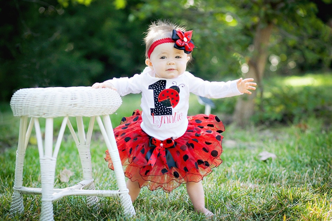 foto de First Birthday Outfit Girl Ladybug birthday outfitBlack red