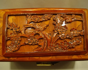 Chinese Carved Wooden Jewelry Trinket Box