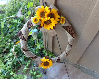 Cemetery wreath designed with sunflowers