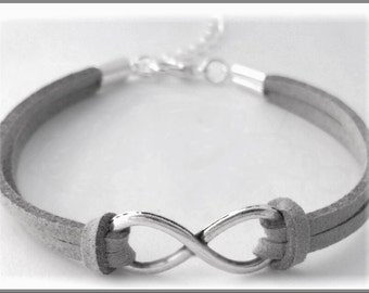 Silver Infinity bracelet for her, eternal love and friendship,  forever infinity jewelry, trendy women's, popular teens, figure eight charm