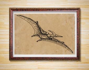 Pterodactyl Dinosaur print Jurassic poster Antique decor