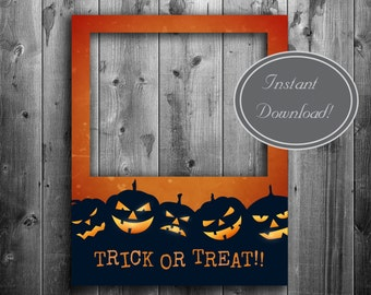 Halloween poster photobooth prop, Instant Download, giant diy photo, trick or treat, selfie prop, happy halloween party photos, printable