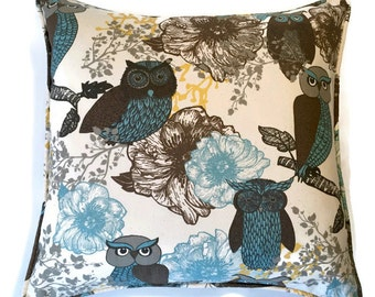 "18"" Decorative Owl Corded Pillow Cover-Owls and Floral 18x18"