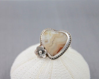 Valentine heart ring heart statement ring crazy lace agate ring sterling silver heart ring bezel set gemstone ring silver smith size6.5 R31