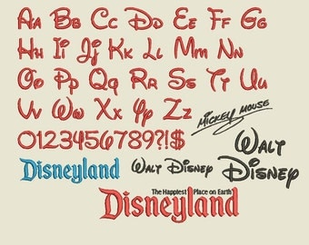 Walt Disney Font Embroidery Design Files popular Words Disneyland Mickey Mouse Handwriting Alphabet Signature INSTANT DOWNLOAD .PES and more