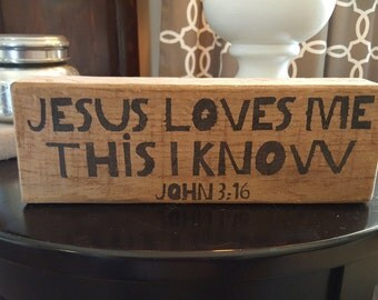 Jesus Loves Me This I Know Wood Block