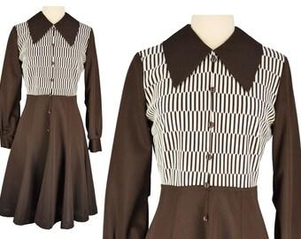 Vintage Dress, 1960s Dress, 60s Dress, Brown and White Mod Dress, Mod Scooter Dress, 60s Mod Dress, Retro Dress, Long Sleeve Dress, Medium