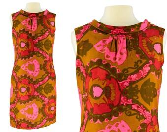 Vintage Dress, 1960s Dress, 60s Dress, Floral Mod Dress, Mod Dress, Psychedelic Dress, 60s Shift Dress, Floral Print, Summer Dress, Large