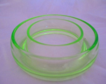 uranium glass posey ring , green glass vase ref 9