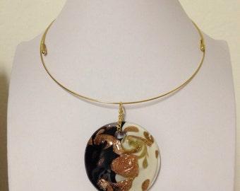 KING: Murano glass pendant on hard crew neck.