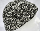 Black and White Alpaca Winter Hat. Hand spun, hand knit watch cap, toque, or beanie in warm, natural black and white alpaca.