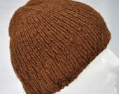 Warm Brown Handspun Alpaca Hat with a Subtle Cable Pattern 15033