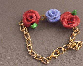 Red and Blue Rose Fimo Clay Gold-Plated Bracelet