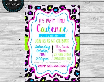 Leopard Birthday Party Invitation