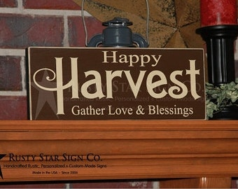 ON SALE!!!  Happy Harvest Wooden Sign, Fall Signs, Autumn Signs, Rustic Fall Decor, Distressed Fall Sign, Harvest Signs