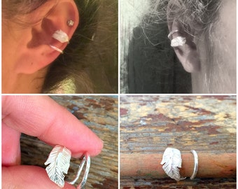 Silver feather ear cuff - beautiful feather design, sterling silver, handmade, feather detail, ear ring, ear jewellery, gift for her,