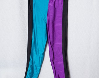 XS 80's Spandex Pants, 80s Party Spandex, Purple Teal Spandex Pants
