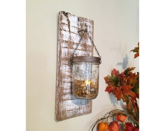 Rustic Wooden Lantern Sconce with Mason Jar Candle Holder, repurposed pallet wood