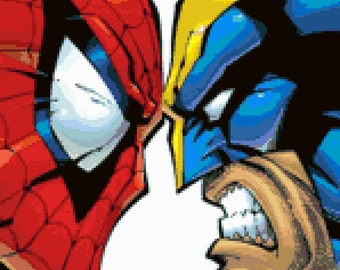Spider-man vs Wolverine Cross Stitch Pattern