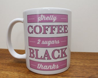 Coffee black mug with name