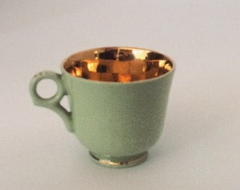 Petite Pale Green and Gold Tea Cup