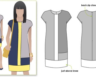 PRINTSHOP only (not tiled) - Charlotte Shift Dress / Sizes 6, 8 & 10 - Women's Dress Downloadable PDF Sewing Pattern by Style Arc