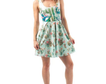 Prickly Flirt Dress, Bright Printed Cactus Succulent Pattern, Mint and Pastel Fit and Flare Spandex Skater Dress