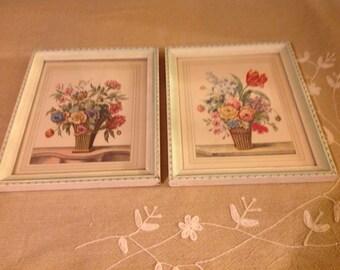 2 Vintage Floral Wall Art