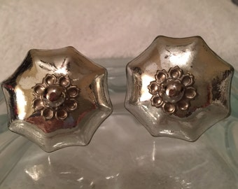 New 6 Silver Scallop Glass Knobs Shabby