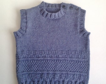 Handknitted  baby vest /  baby gift / boy vest /pure wool baby vest/size 0-24 months
