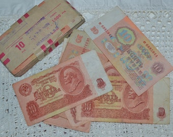 USSR Ruble Russian soviet era banknote, Soviet Union Ruble, Vintage Money, USSR 1961 Collectable, Interior Décor