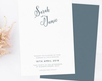 Modern wedding invitation in taupe blue. Modern invitations. Wedding invitations. Boho wedding invite.