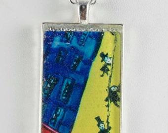 Linen blue strings green pendant Rectangle melaniebernard.com