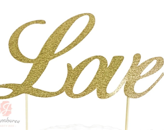 LOVE Gold Glitter Cake Toppers, Toothpick Cake Topper, Gold Glitter Cake, Gold Glitter Wedding Cake Topper, LOVE Wedding Cake Topper
