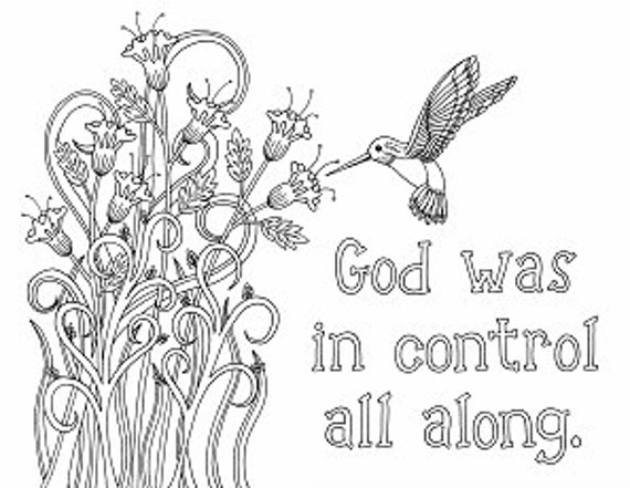 items similar to humming bird coloring page flowers god was in control grown up coloring book adult coloring sheet color biblical - Hummingbird Flower Coloring Pages