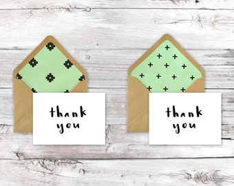 Thank You Cards- Mint Green Pattern Lined Envelopes 2 Styles Set of 6 Cards