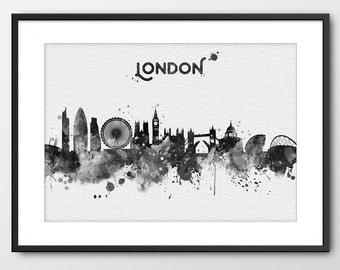 London Skyline Print Black and White London Cityscape Watercolor England Print London Painting London Wall Art London City Poster (A092WP_N)