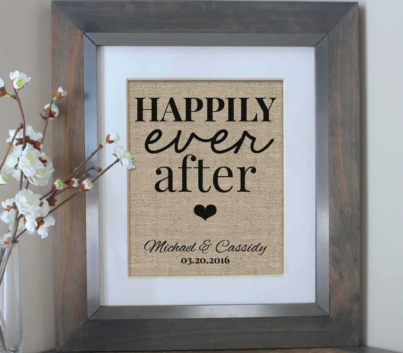 Wedding Gift Happily Ever After Burlap Print By EmmaAndTheBean