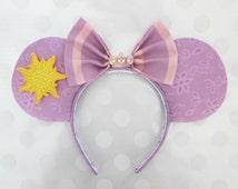 Rapunzel Inspired Mouse Ears Headband, Custom Ears