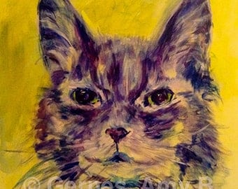 Cat painting,pet portrait, acrylic painting on canvas, commission pet portrait, Expressionist animal painting, unique, one-of-a-kind