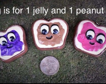 Pb and J,  Necklace Charm, Bestfriend Charms, BFF Charms, Polymer Clay Charm Necklace, peanut butter and jelly charm, polymer clay