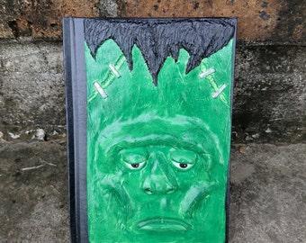 Frankenstein's monster journal, universal monster, universal monster art, frankenstein, altered journal, notebook, custom notebook