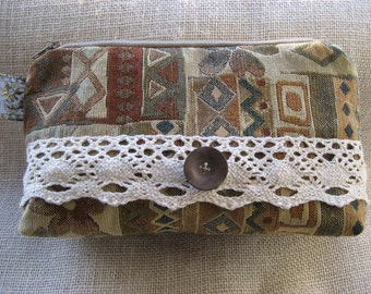 Clutch Purse, Make-up bag, Cosmetic bag, upcycled Italian Tapestry fabric, lined, padded, zippered, interior pocket