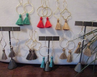 Silk Tassel Earrings Gold and Silver In Multiple Colors