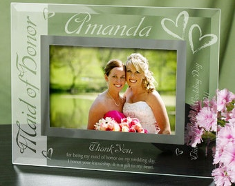 Maid of Honor Glass Picture Frame, Matron of Honor Glass Picture Frame, Maid Of Honor Thank You Frame
