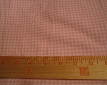 Cotton flannel fabric pink and white gingham