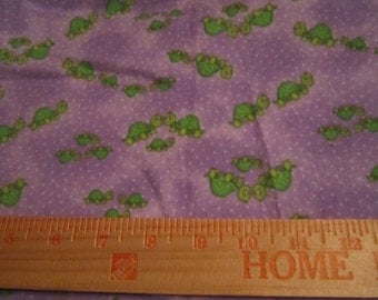 Cotton flannel lavender and purple with green turtles