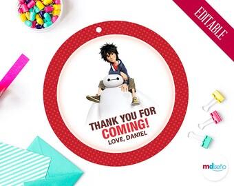 Big Hero 6 Favor Tags, PRINTABLE & EDITABLE, Big Hero 6 Thank You Cards Stickers Decoration Birthday Party Printables